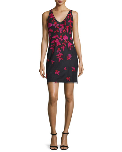 Sleeveless Floral-Embroidered Cocktail Dress, Black