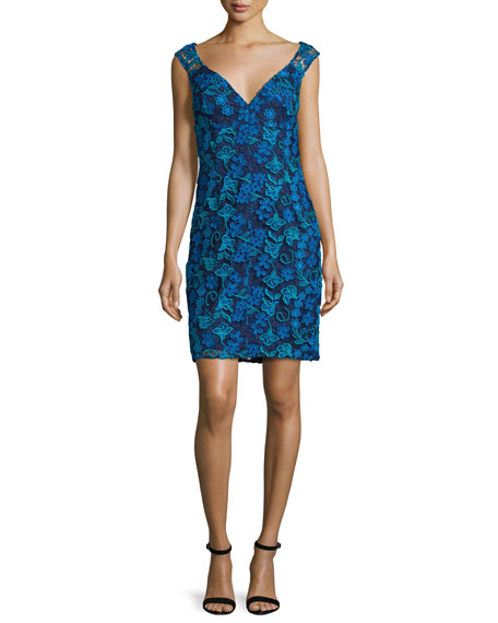 Sleeveless Floral Lace Cocktail Dress, Twilight/Multicolor