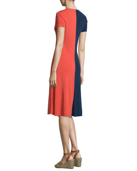 Walden Asymmetric Colorblock Dress, Royal Navy/Red Canyon