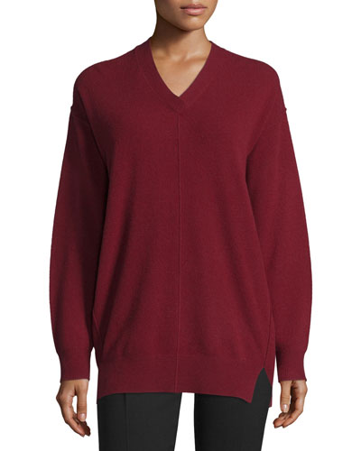 Wool V-Neck Pullover Sweater, Oxblood