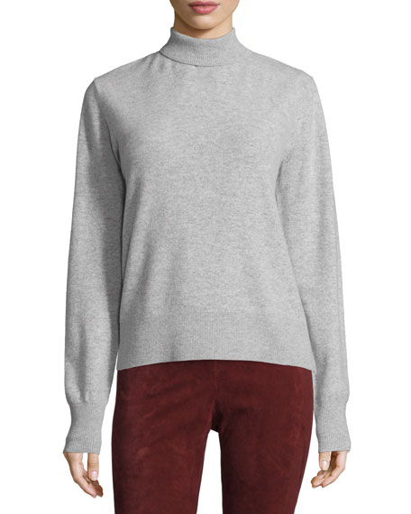 Joseph Wool Ribbed-Trim Turtleneck Sweater, Marble