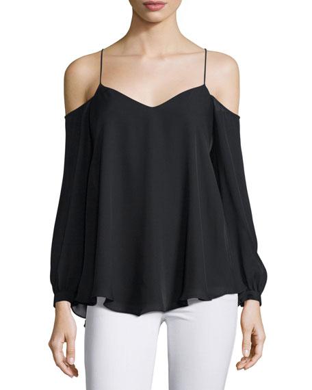 Haute Hippie Silk Long-Sleeve Cold-Shoulder Top, Black