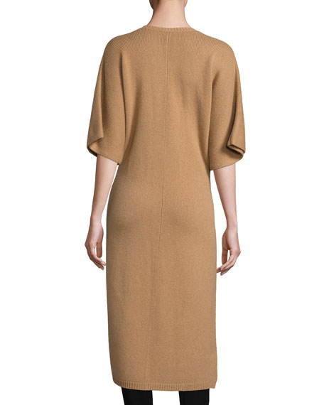 Felicie Long Half-Sleeve Cashmere Sweater, Camel