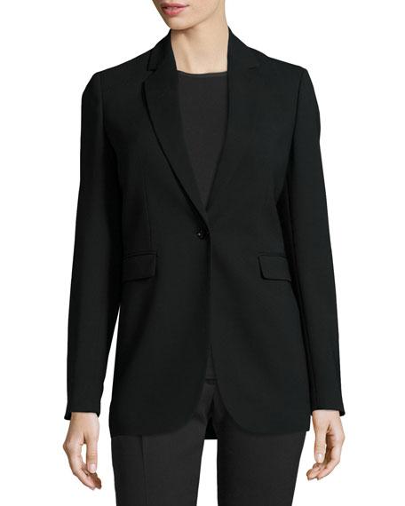 Laurent Stretch Wool Blazer, Black