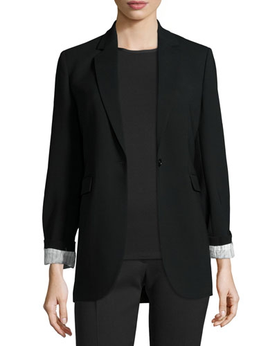 Laurent Stretch Wool Blazer, Black