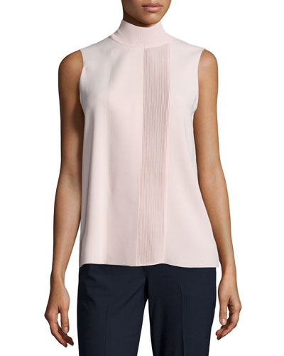 Laser-Cut Sleeveless Turtleneck Top, New Buff