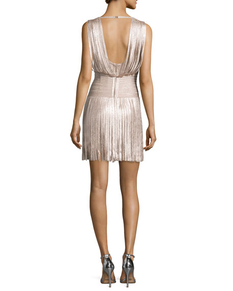 Naomi Draped Foil Fringe Dress, Rose Gold Foil