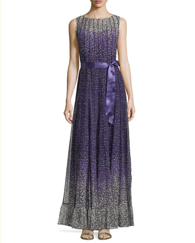 Sleeveless Paneled Floral Gown, Purple/Multicolor
