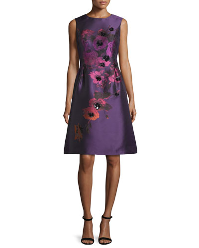 Sleeveless Floral Taffeta A-Line Gown, Purple