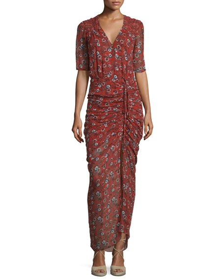 Veronica Beard Mariposa Silk Ruched Printed Maxi Dress,