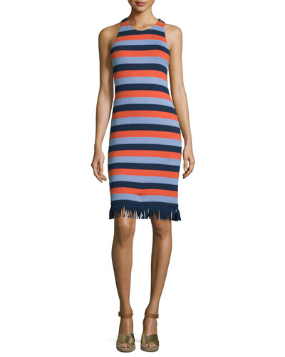 Ariana Sleeveless Striped Dress w/ Fringe, Red Canyon/Multi