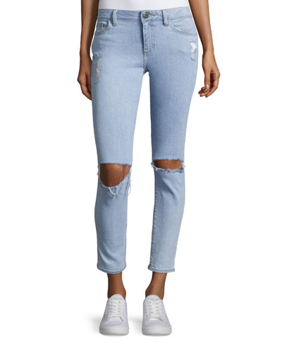 Margaux Distressed Cropped Jeans, Acid