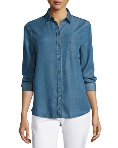 Mercer & Spring Chambray Shirt, Dark Wash Indigo