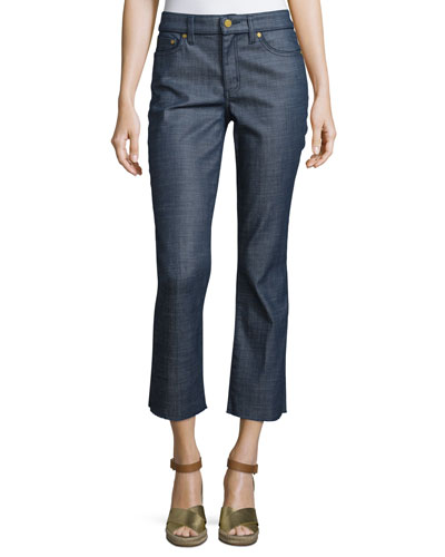 Cayden Denim Crop Pants, Rinse Wash