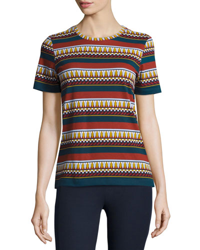 Libby Multi-Stripe Graphic Tee, Eden Stripe