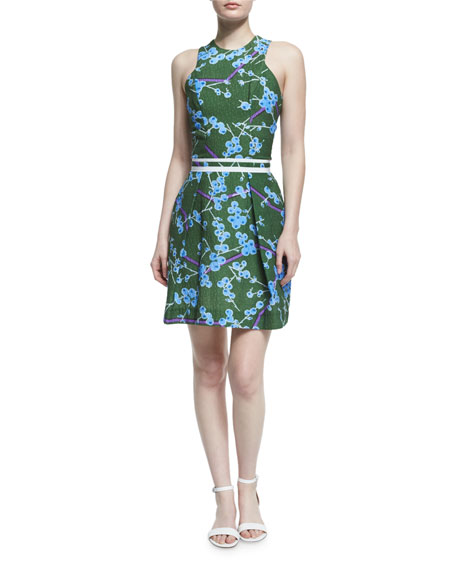Carven Sleeveless Floral Structured Dress, Vert