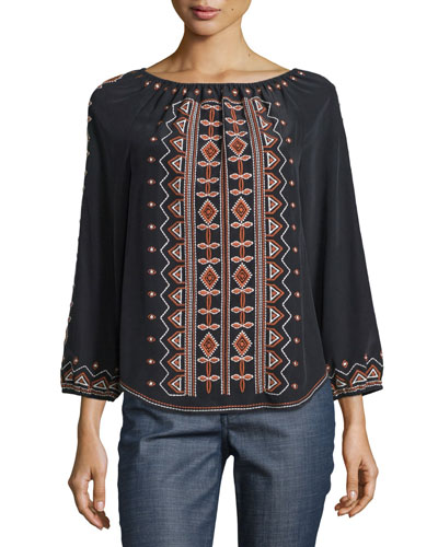 Jessie Bracelet-Sleeve Embroidered Top, Black