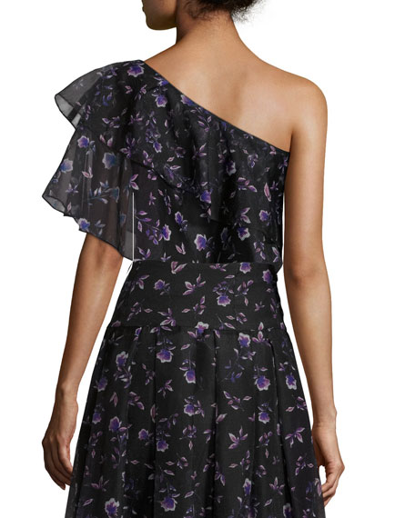Ruffled One-Shoulder Blouse in Violet-Print, Black/Purple