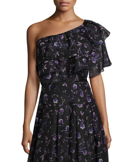 Sachin & Babi Ruffled One-Shoulder Blouse in Violet-Print,