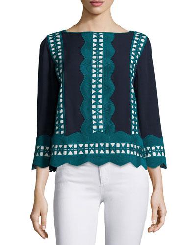 Germaine 3/4-Sleeve Embellished Silk Tunic Top, Navy/Ivory