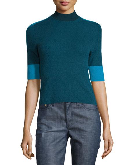 Megan Elbow-Sleeve Colorblock Cashmere Top, Oceano