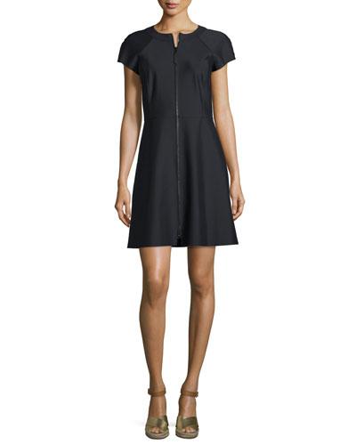 Mackenzie Short-Sleeve Front-Zip Scuba Dress, Black
