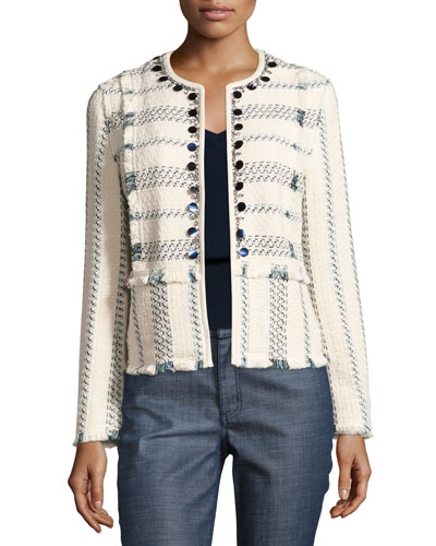 Abbot Embellished Striped Tweed Jacket, Celeste/Verde