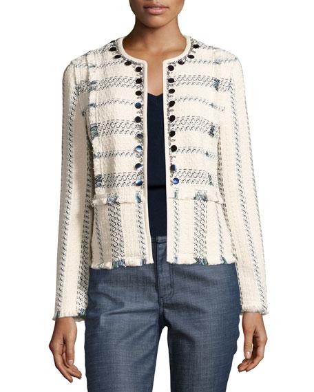 Abbot Embellished Striped Tweed Jacket, Celeste/Verde