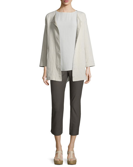 Eileen Fisher Stucco Linen/Cotton Snap-Front Jacket, Bone, Petite