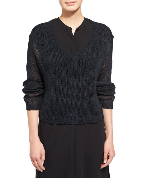 Eileen Fisher Fisher Project V-Neck Organic Cotton Tape