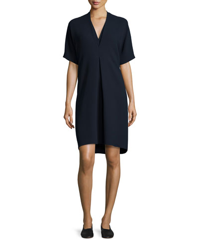 Quarter-Sleeve Double-V Crepe Dress