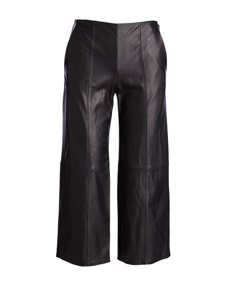 Seam-Trim Leather Culottes