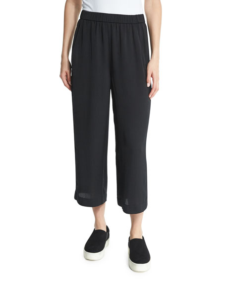 VinceWide-Leg Cropped Pants, Black