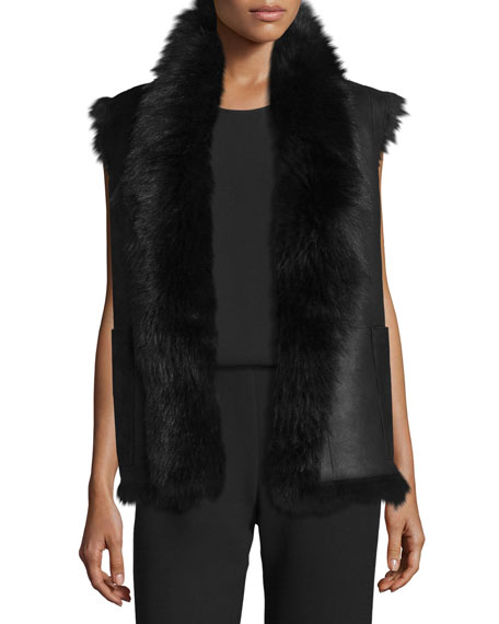 Shearling Fur-Trim Leather Vest