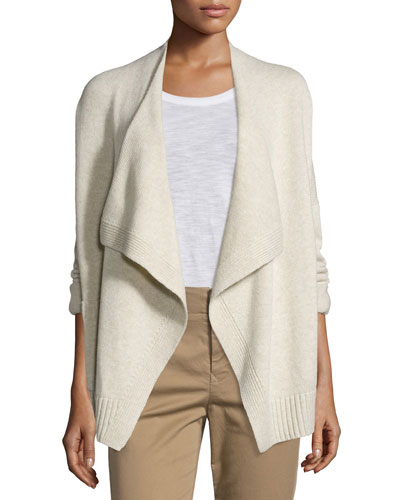 Ribbed Draped-Front Cardigan