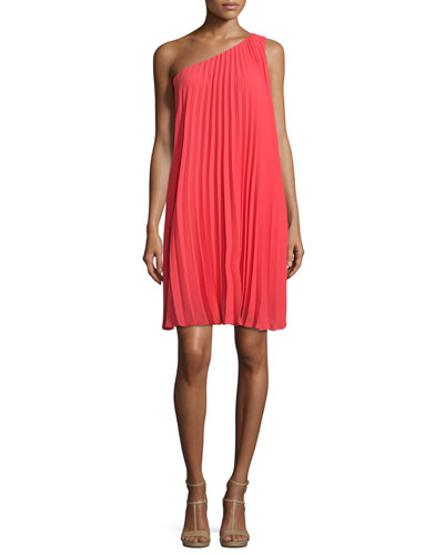 One-Shoulder Pleated Shift Dress, Rio Ruby