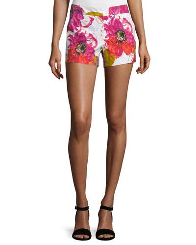 Floral Cotton-Blend Shorts, Multicolor
