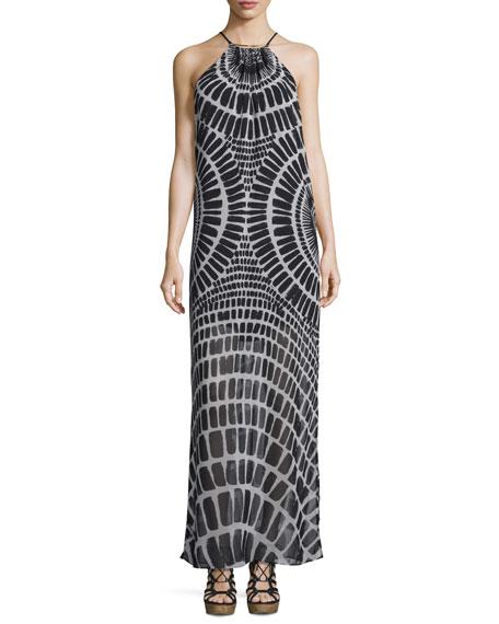 Trina TurkSleeveless Printed Chiffon Maxi Dress, Black
