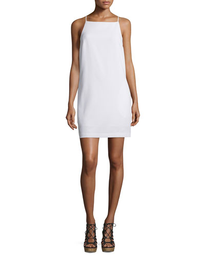 Sleeveless Woven Shift Dress, Whitewash