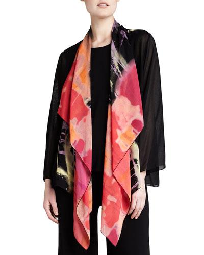 Waterfall Printed Georgette Jacket, Plus Size