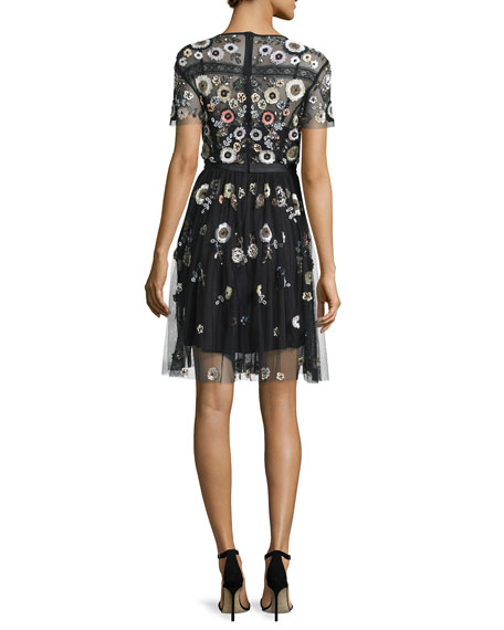 Woodland Embellished Lace Dress, Black