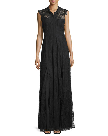 Sleeveless Button-Front Lace-Overlay Gown