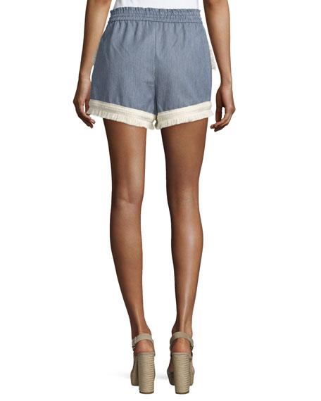 Micro-Stripe Shorts w/Braid & Fringe Trim, Blue