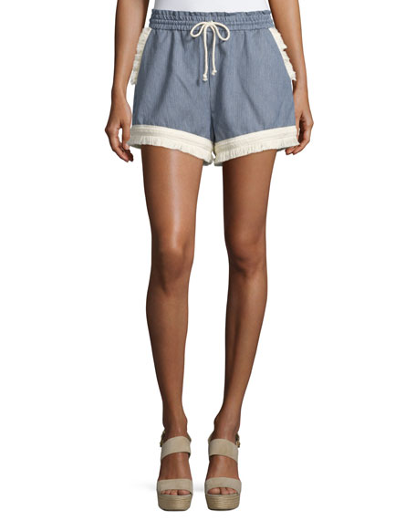 NICHOLAS Micro-Stripe Shorts w/Braid & Fringe Trim, Blue