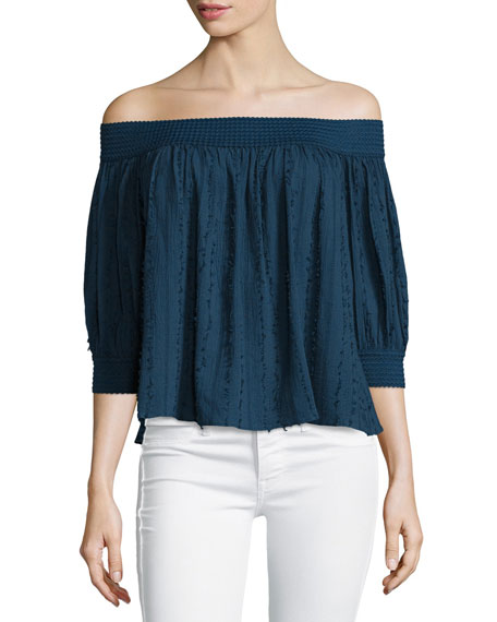 Casper Off-The-Shoulder Fray Top, Navy
