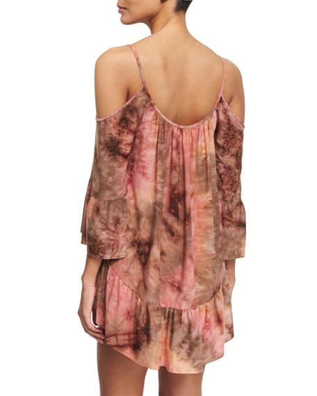 Mother Earth Printed Cold-Shoulder Dress