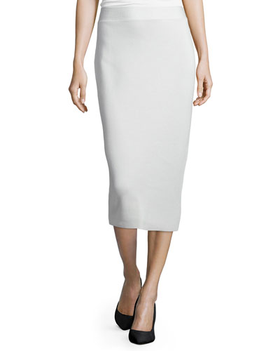 Silk Organic Cotton Interlock Pencil Skirt, Bone, Petite