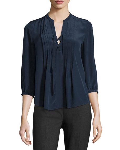 Lace-Up Pintuck Silk Blouse, Navy