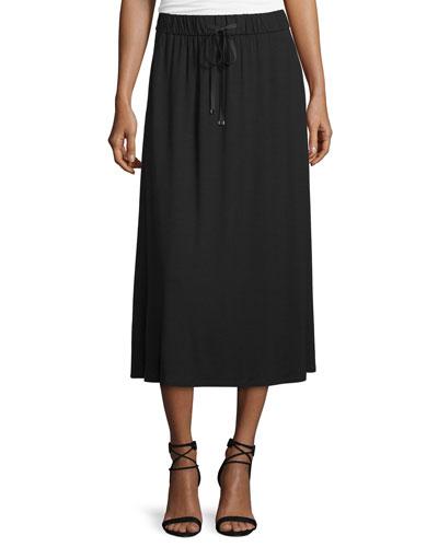 Drawstring A-line Jersey Skirt, Black, Petite