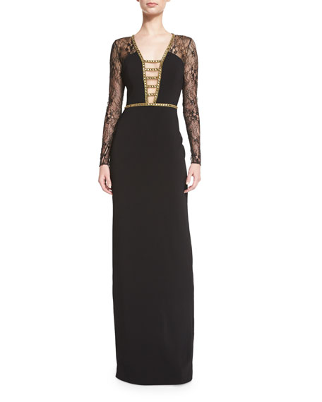 Badgley Mischka Lace-Sleeve Deep-V Gown, Black